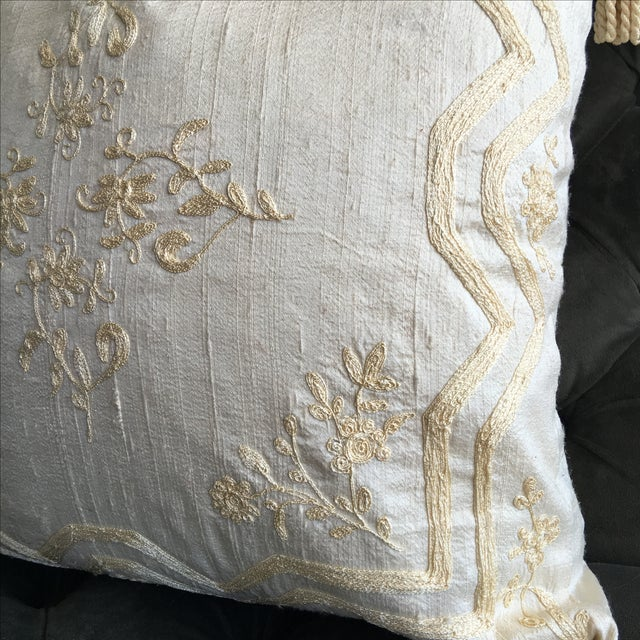 Luxury Raw Silk Embroidered Accent Pillow - Image 4 of 5