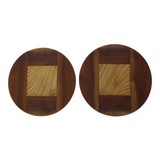 Hand Designed Inlaid Wood Platter - A Pair