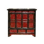 Image of Chinese Rustic Black & Red Console Storage Cabinet