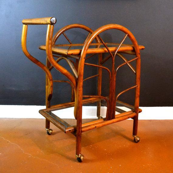 Hollywood Regency Rattan Rolling Drink Cart - Image 2 of 6