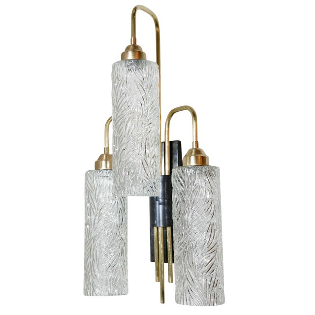 Image of Large Brass Sconces with Vintage German Glass