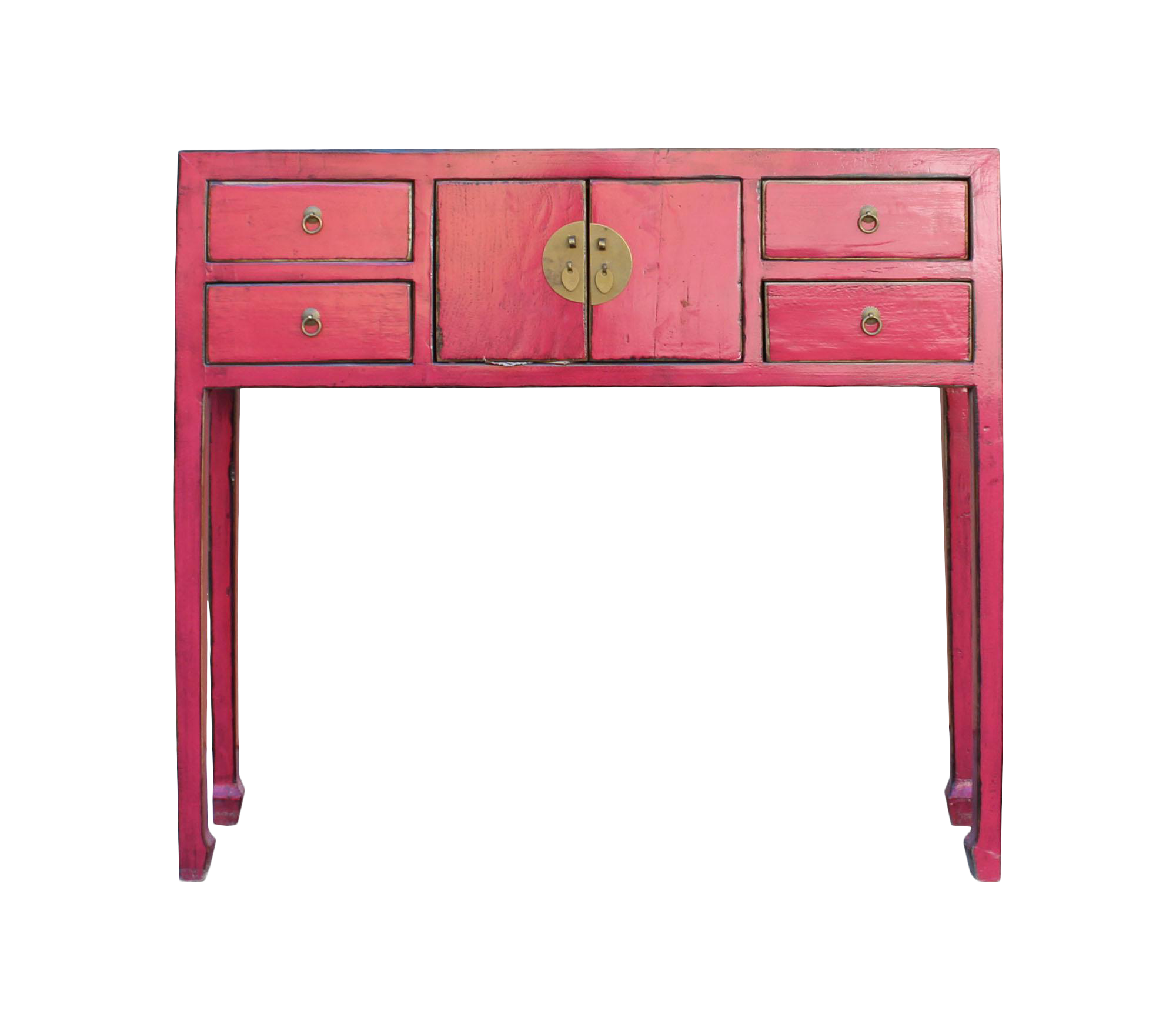 Chinese Distressed Bright Pink Narrow Slim Foyer Side Table