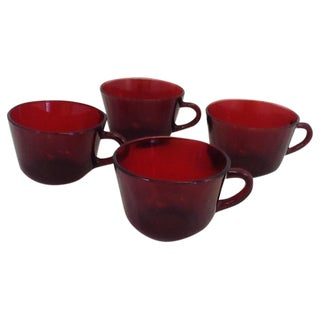 Vintage Cranberry Glass Cups - Set of 4