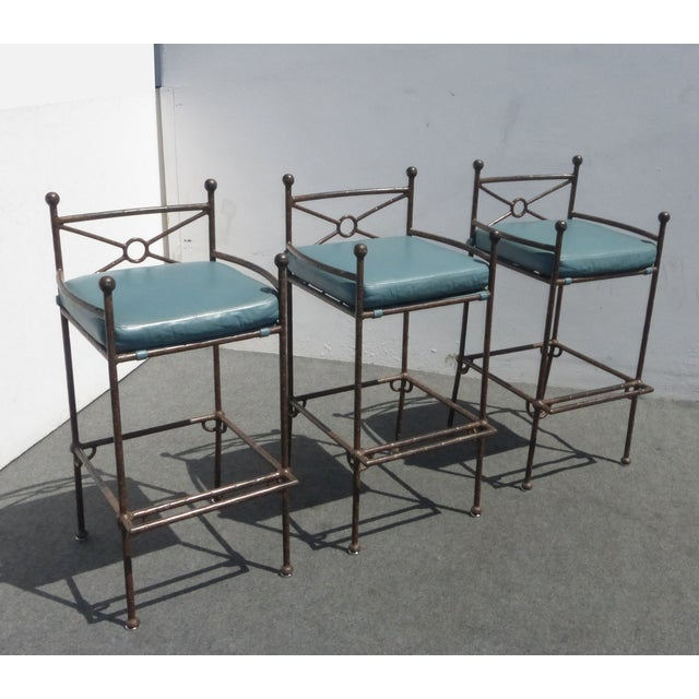 Metal & Turquoise Blue Leather Tall Barstools - 3 - Image 2 of 11