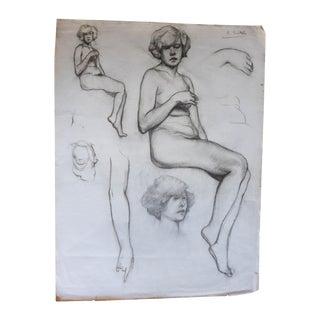 1920s Female Nude Study