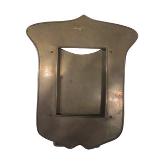 Antique 1900s Shield-Shaped Brass Picture Frame