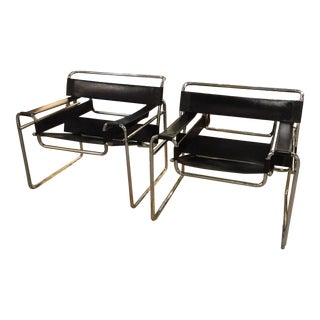 Mid-Century Italian Wassily Chrome & Leather Chairs - Pair