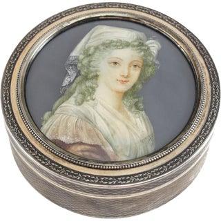 1910 Antique Lapparra & Gabriel French .950 Silver Portrait Trinket Dresser Box