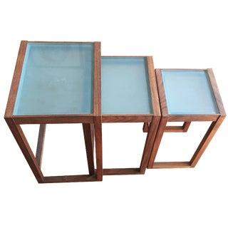 Walnut & Sand-Blasted Glass Nesting Tables