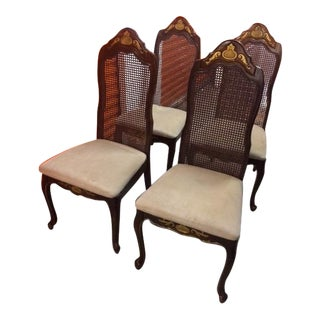 French Colonial Woven Cane Back Chairs - Set of 4