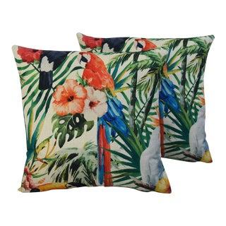 """17"""" Square Tropical Cockatiel & Parrot Linen Pillow Covers - Pair"""
