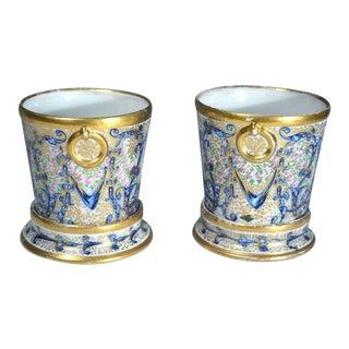 Coalport Porcelain Miniature Cachepots & Stands - a Pair