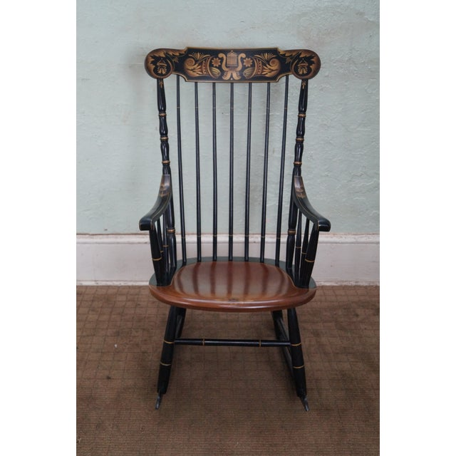 Hitchcock Black Painted Stenciled Rocking Chair Chairish