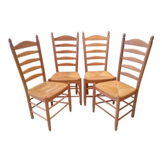 Italian Solid Wood Ladder Back Chairs - Set of 4