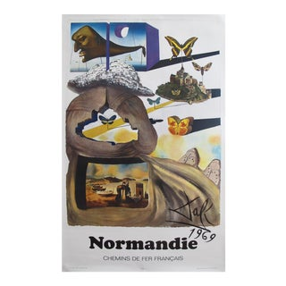Salvador Dali 1969 Normandie French Railway Travel Poster