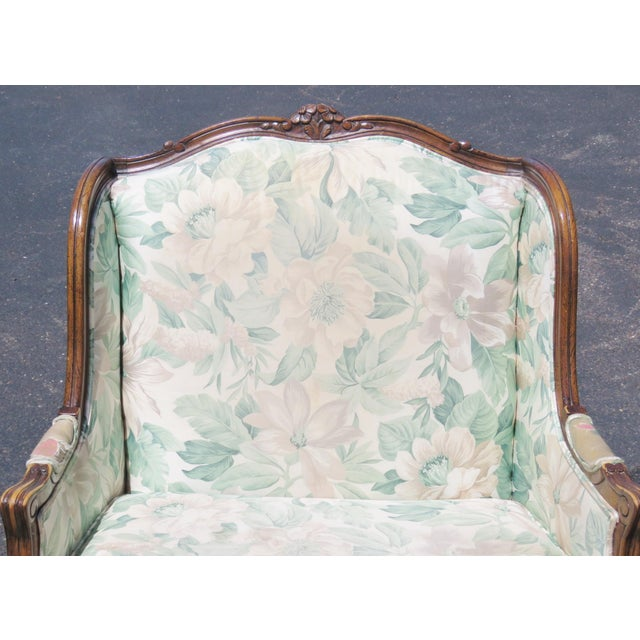 Louis XV Upholstered Carved Walnut Bergeres Marquis Armchairs- A Pair - Image 2 of 5