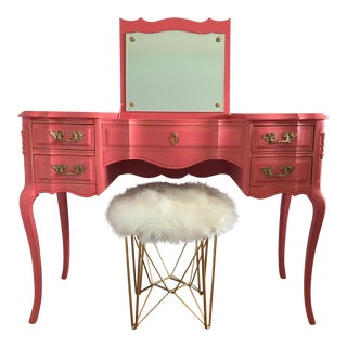 French Provincial Vanity Set With Faux Fur Stool