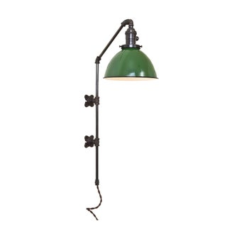 Brass Plumbing Pipe Sconce - Green Dome