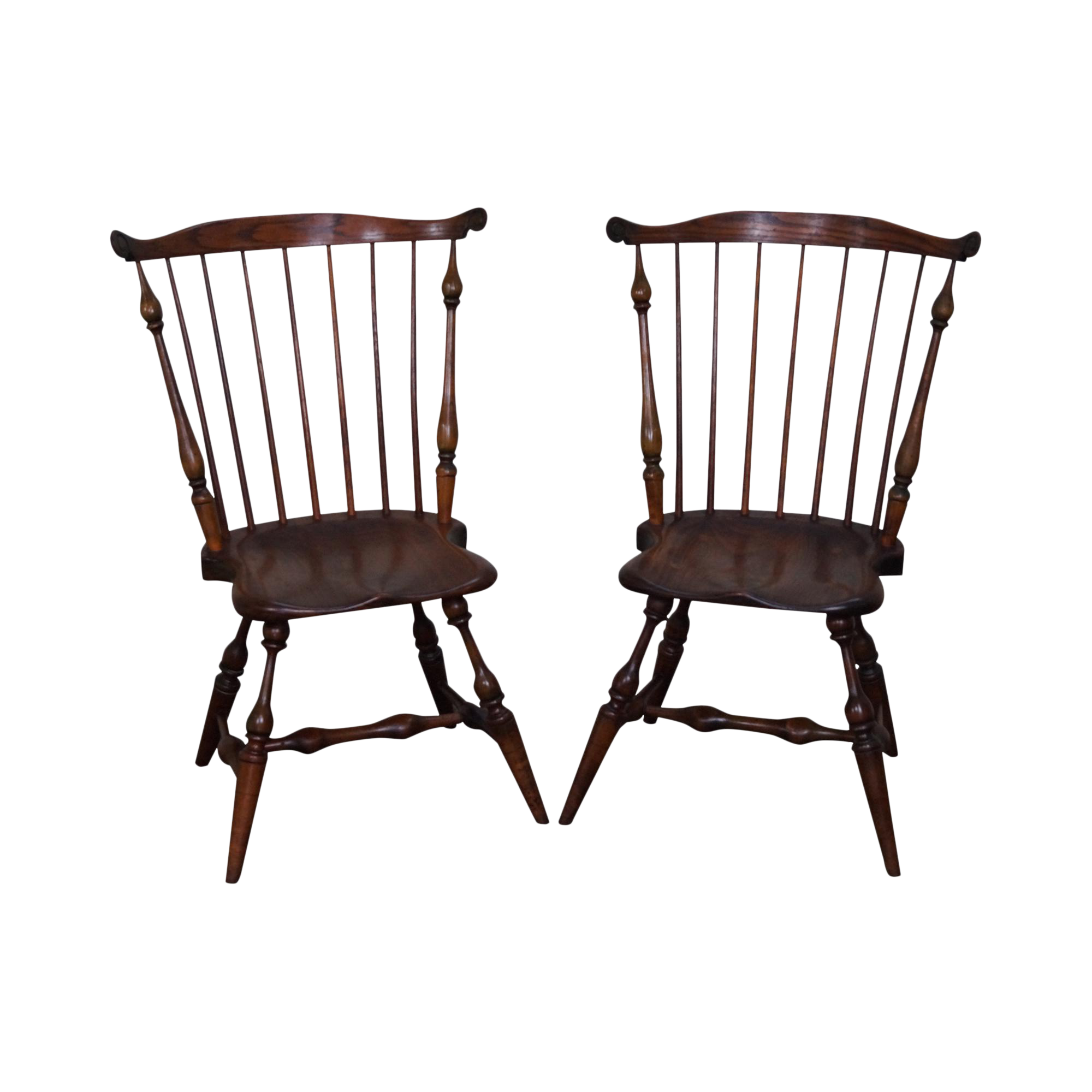 Vintage Frederick Duckloe Style Windsor Side Chairs   A Pair