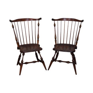 Vintage Frederick Duckloe Style Windsor Side Chairs - a Pair