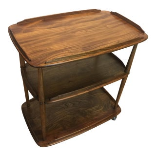 Mid-Century Solid Wood Bar Cart