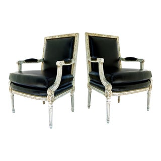 Vintage Black & White Louis XVI Bergere Chairs - A Pair