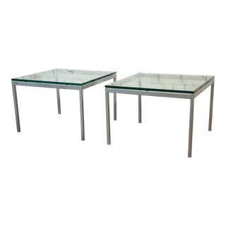 Florence Knoll Chrome & Glass Side Tables - a Pair