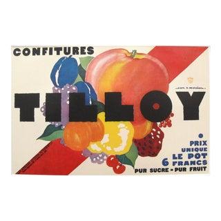 1920s Vintage Art Deco Mini Poster, Confitures Tilloy Jam