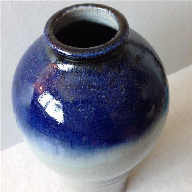 Studio Pottery Grey & Cobalt Blue Vase - Image 4 of 11