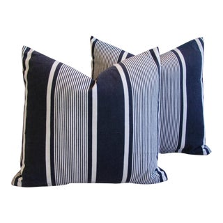 French Stripe Ticking Fabric Down & Feather Pillows- A Pair