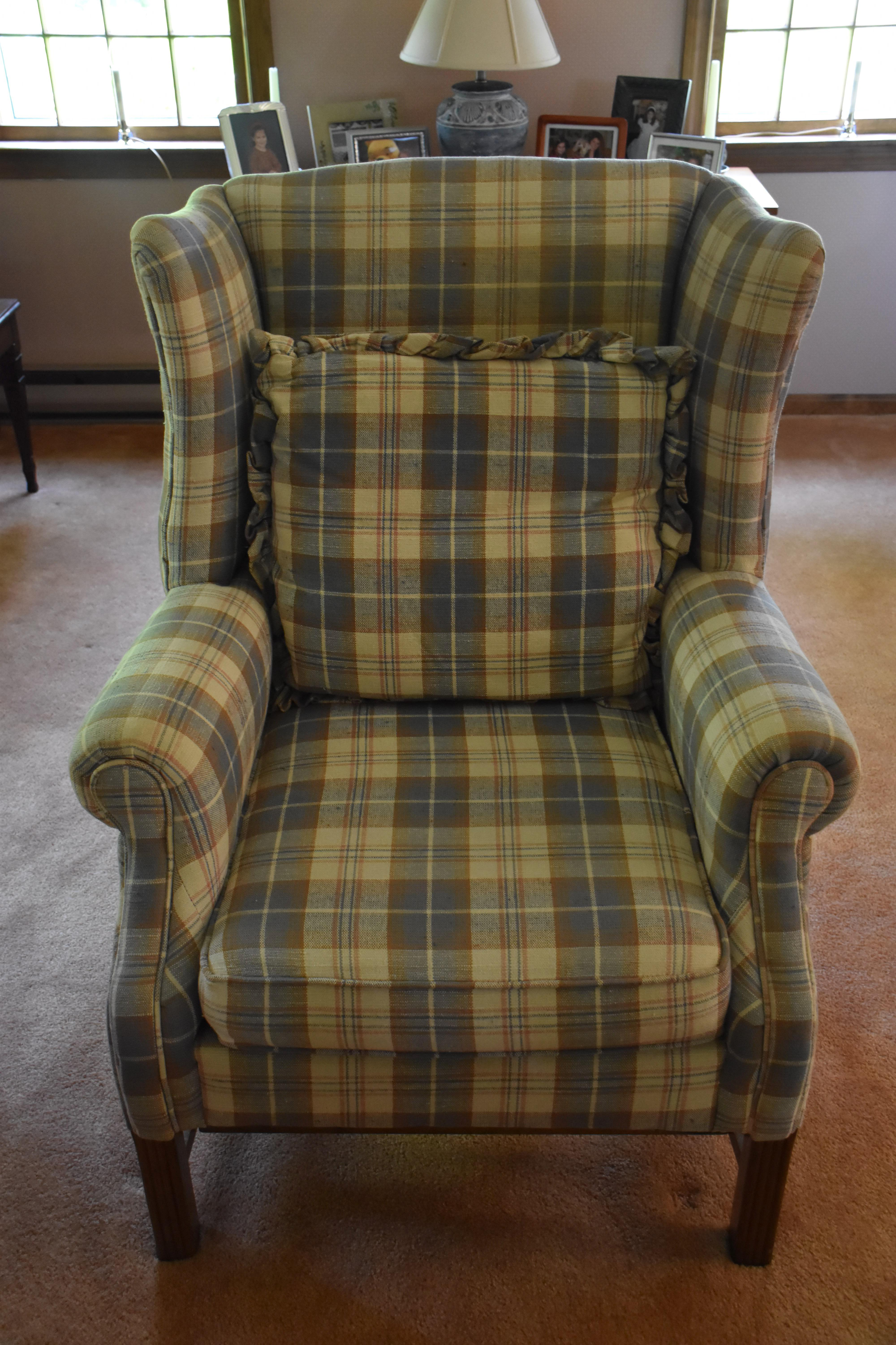 Upholstered Plaid Chair U0026 Pillow   Image 2 ...