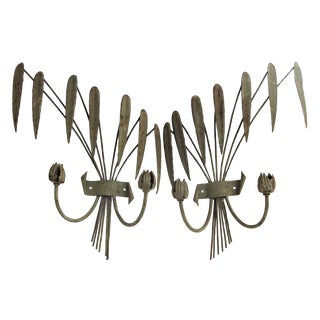 French Iron Candelabra Sconces With Fern Motif - A Pair
