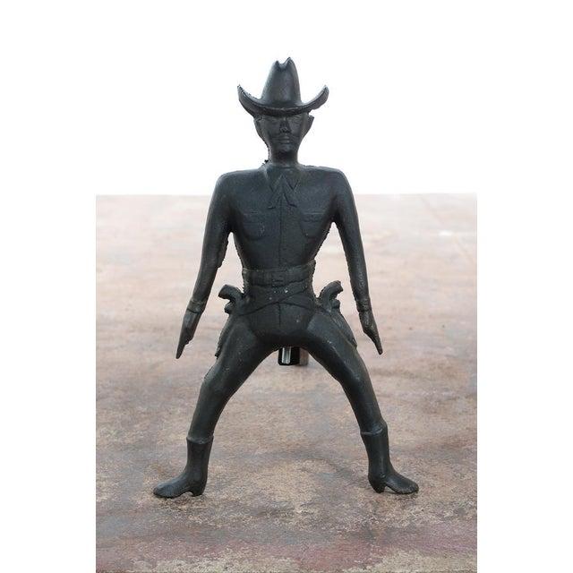 Vintage Cast Iron Figural Cowboy Andirons - A Pair - Image 4 of 9