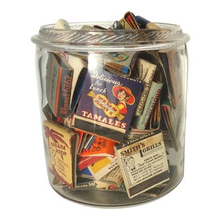 Collection of Vintage Matchbooks in Antique Glass Jar II