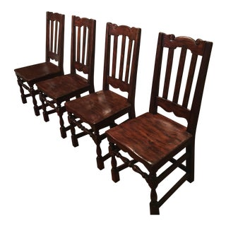 California Spanish Mahogany Dining Chairs - Set of 4