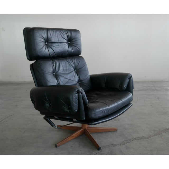 mid century danish easy chair in black leather chairish