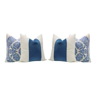 Linen Scroll Print & Cadet Blue Velvet Panel Pillows - Set of 4