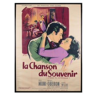 "Framed ""La Chanson Du Souvenir"" 1945 French Movie Poster"