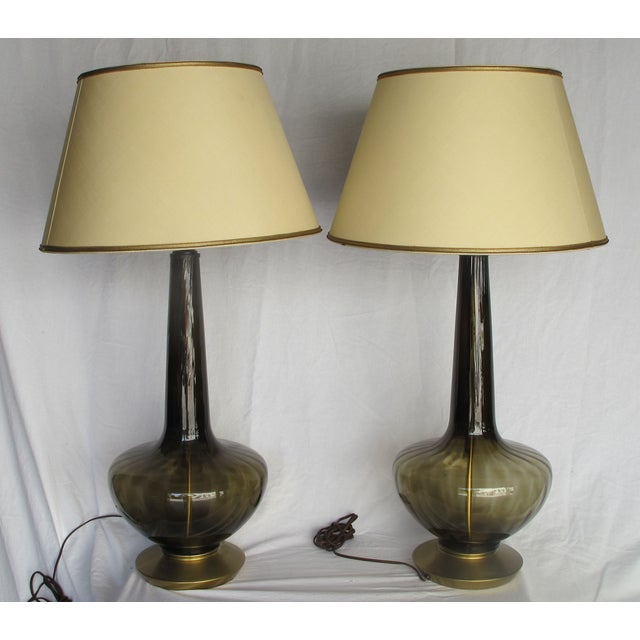 Image of Vintage 1960s Gray Glass Table Lamps - A Pair