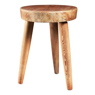 Charlotte Perriand tripod pine stool, France, 1950s