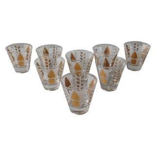 Fred Press Mid-Century Gold Tree Shot Glasses- S/8