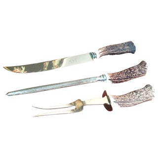 3 Piece English Stag-Horn Carving Set
