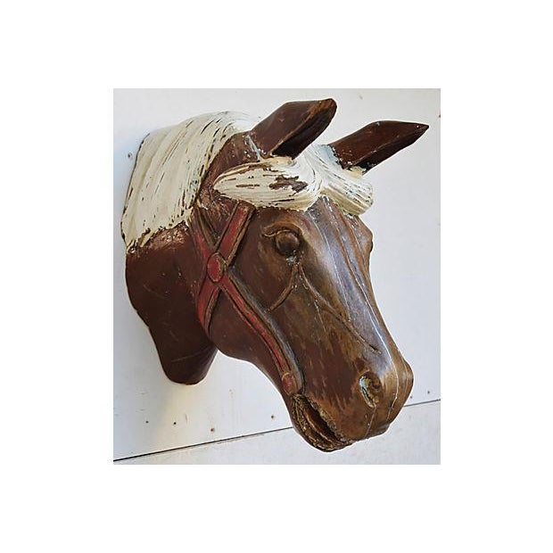 1940s Hand-Carved Carousel Horse Head - Wall Mounted - Image 2 of 11