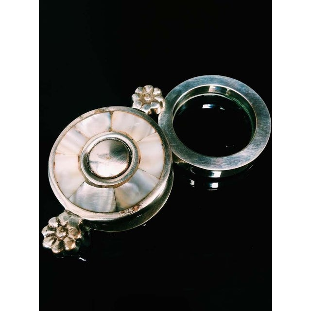 Mother of Pearl Plate and Silver Magnifying Glass - Image 2 of 5