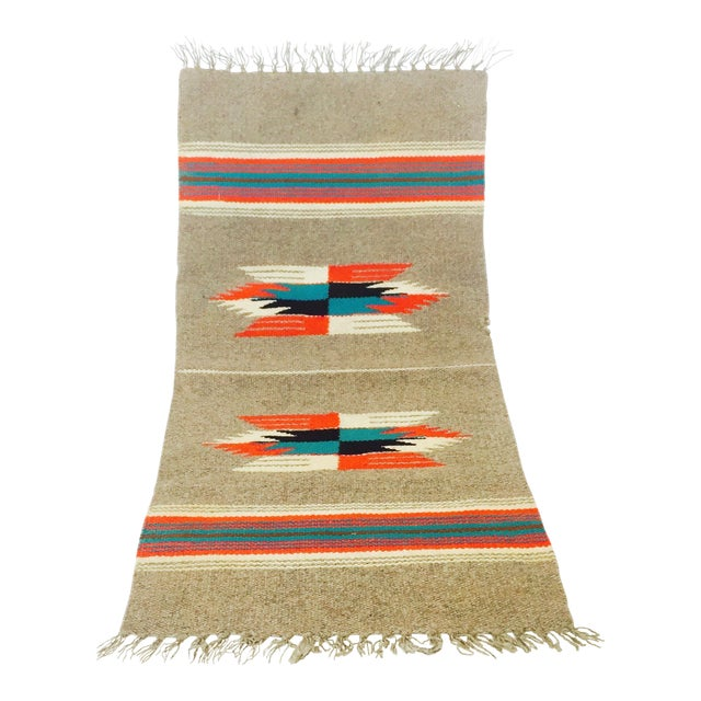 Vintage Gray Mexican Rug - 1′2″ × 2′6″ - Image 1 of 5