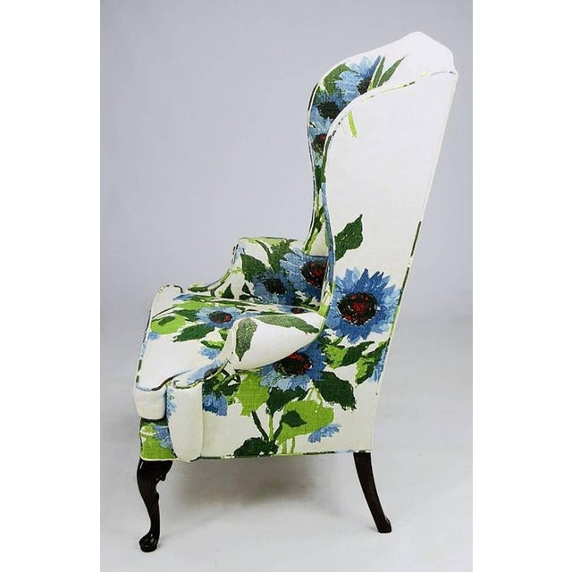 Pair of Elegant and Bold Floral Linen Upholstered Wing Chairs by Hickory Chair - Image 3 of 6