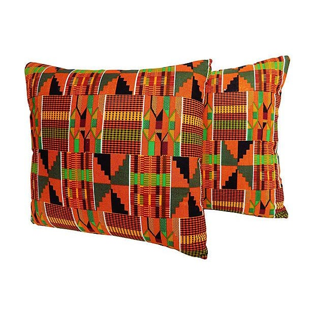 Kente Cloth Pillows, Pair - Image 2 of 5