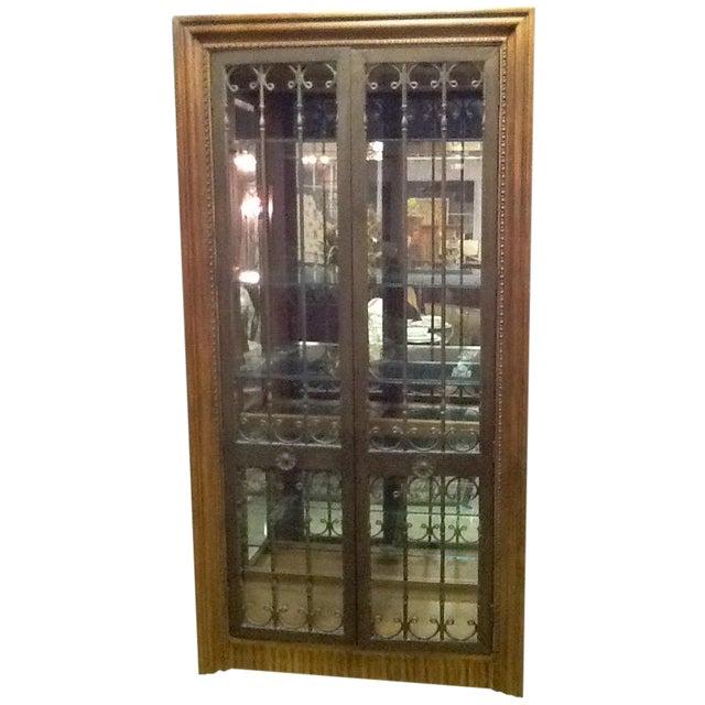 Image of Bernhardt Wood, Glass & Iron Curio Cabinet