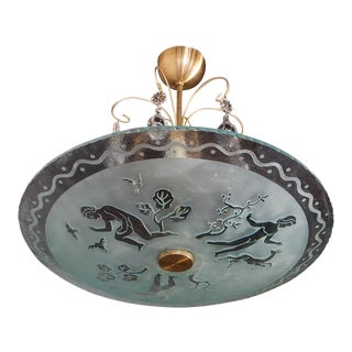 Swedish Etched Glass Fixture with Neoclassical Motifs by Orrefors, 1940s