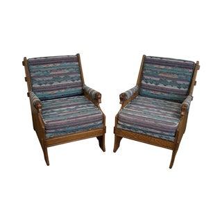Romweber Viking Oak Horse Head Lounge Chairs